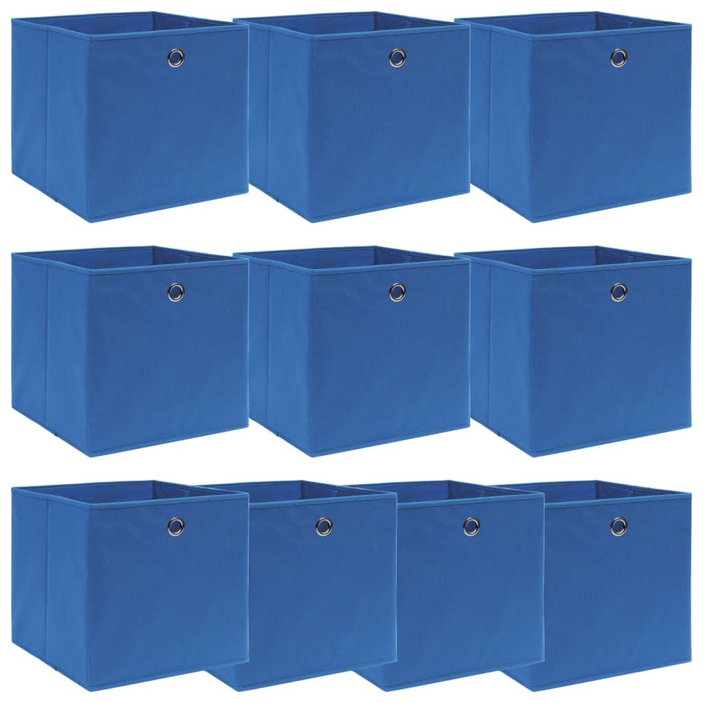 vidaXL Cutii depozitare, 10 buc., albastru, 32x32x32 cm, textil vidaxl.ro