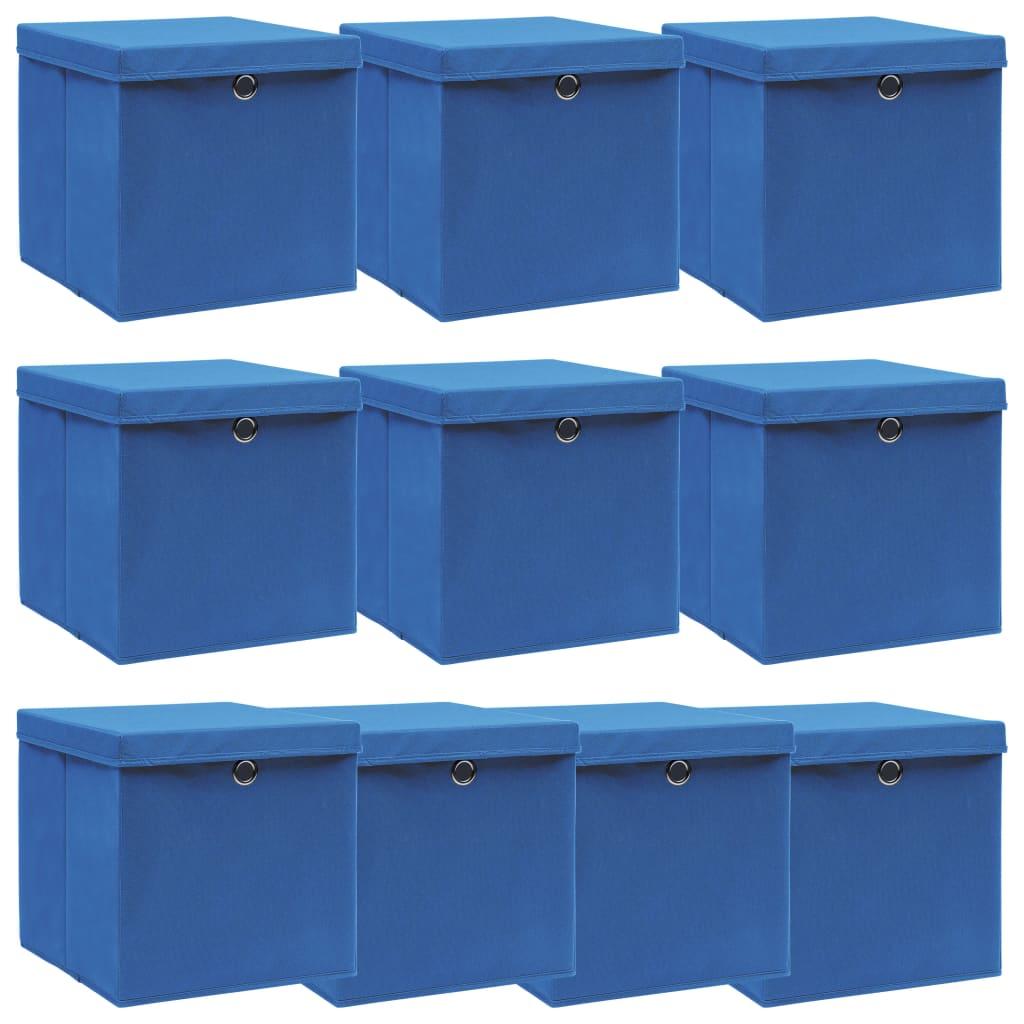 vidaXL Úložné boxy s víky 10 ks modré 32 x 32 x 32 cm textil