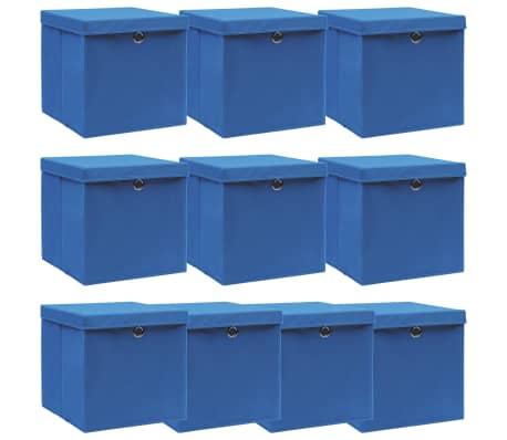 vidaXL Opbergboxen met deksel 10 st 32x32x32 cm stof blauw