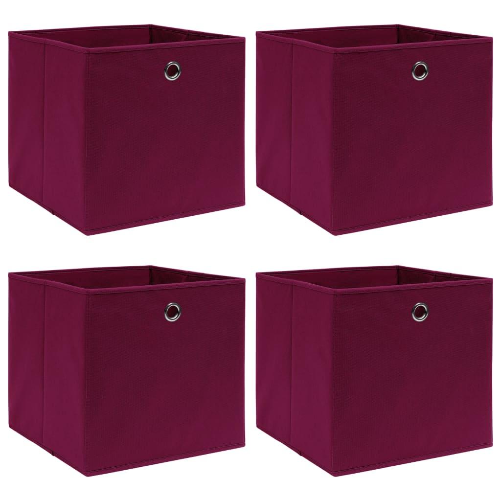 vidaXL Cutii depozitare, 4 buc., roșu închis, 32x32x32 cm, textil imagine vidaxl.ro
