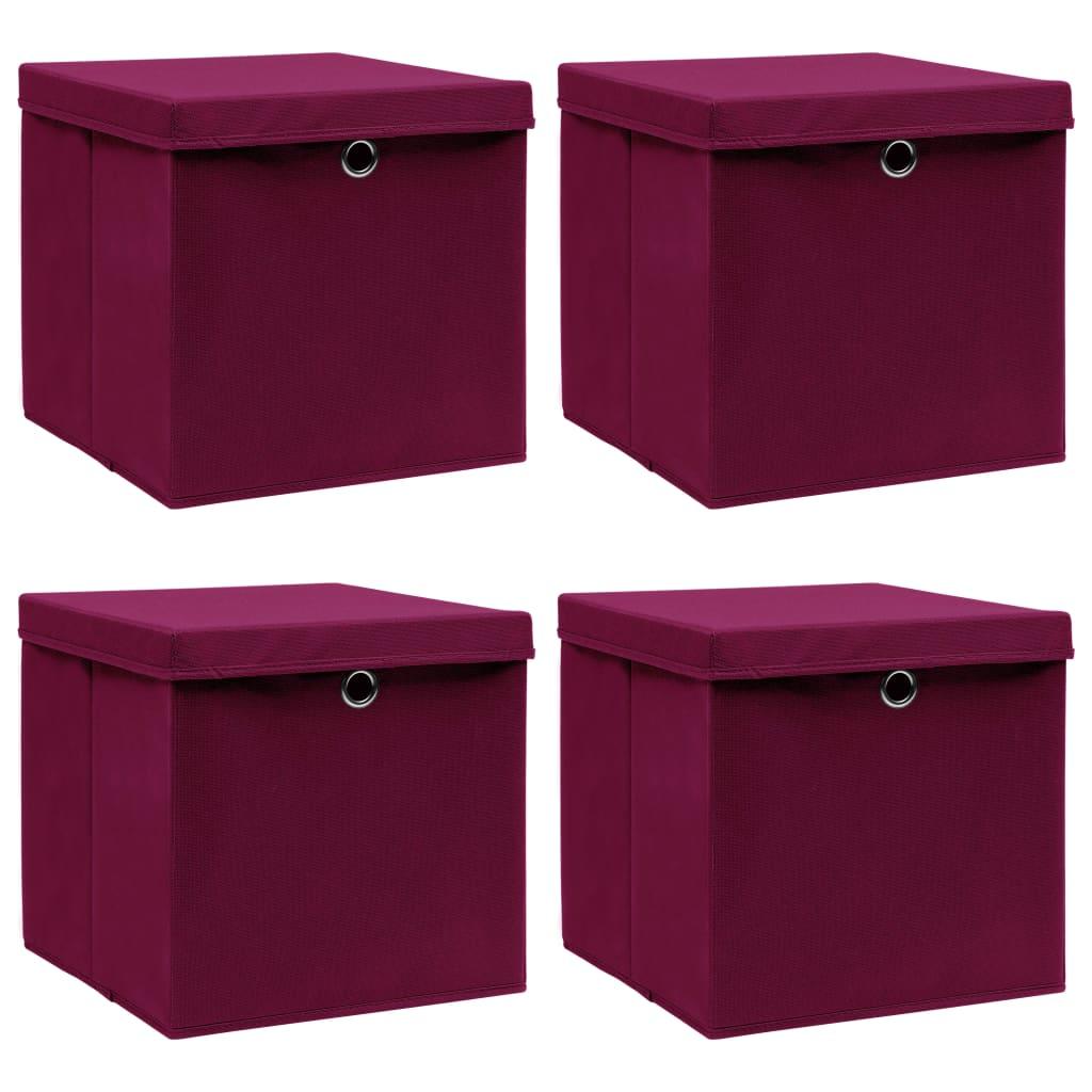 vidaXL Cutii depozitare cu capac 4 buc. roșu închis 32x32x32cm textil imagine vidaxl.ro
