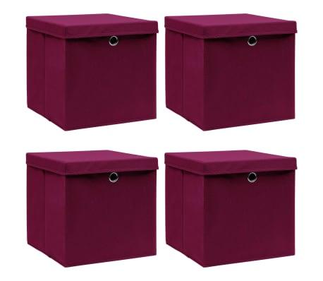 vidaXL Opbergboxen met deksel 4 st 32x32x32 cm stof donkerrood