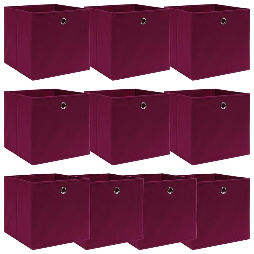 vidaXL Cutii depozitare, 10 buc., roșu închis, 32x32x32 cm, textil poza 2021 vidaXL