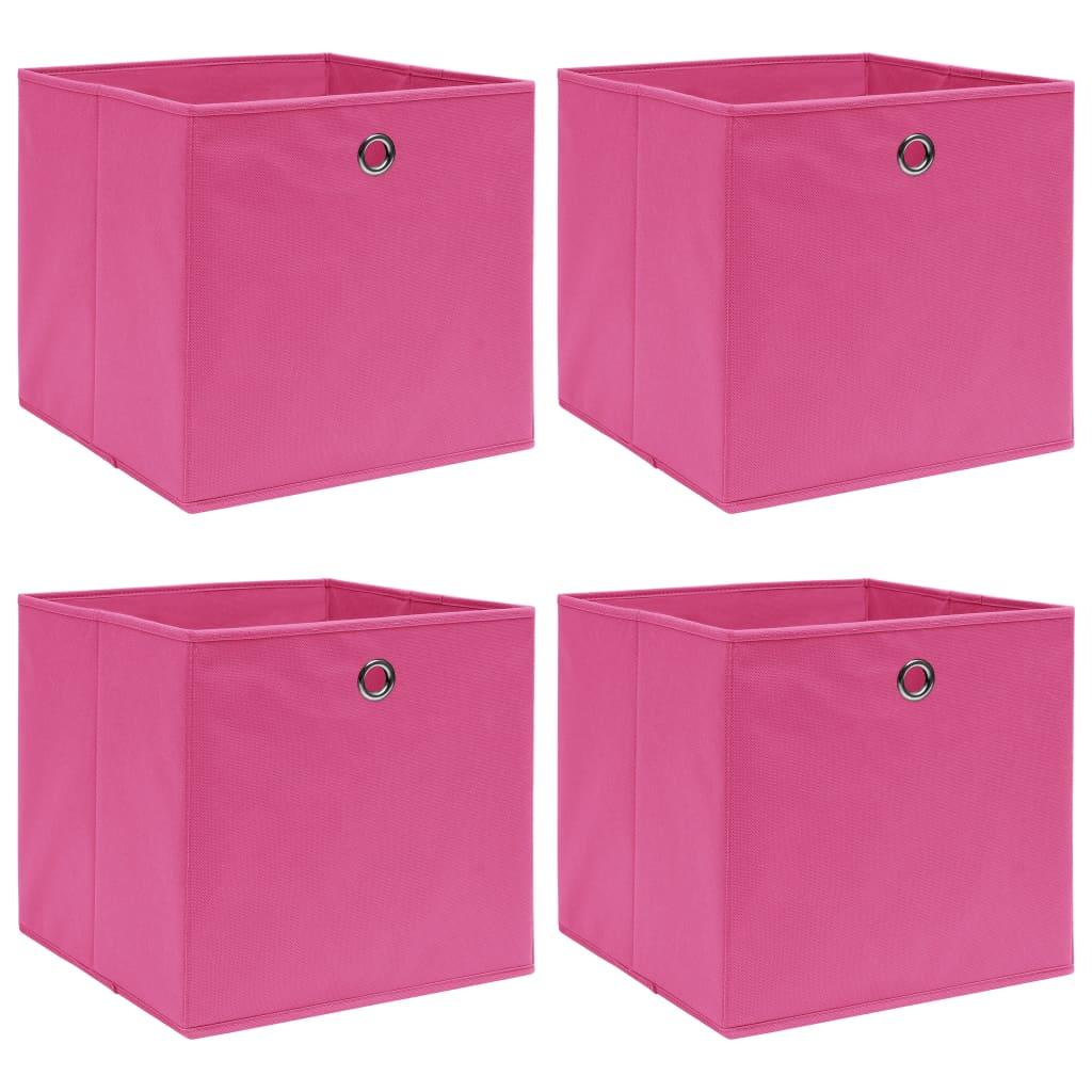 vidaXL Cutii depozitare, 4 buc., roz, 32x32x32 cm, textil vidaxl.ro