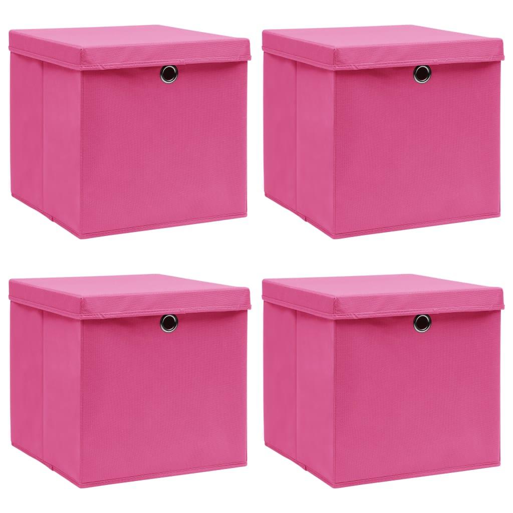 vidaXL Cutii depozitare cu capace, 4 buc., roz, 32x32x32 cm, textil poza 2021 vidaXL