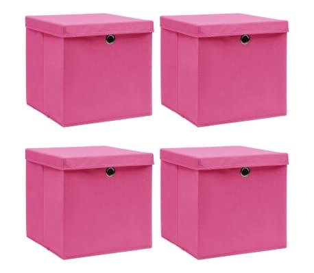 vidaXL Opbergboxen met deksel 4 st 32x32x32 cm stof roze