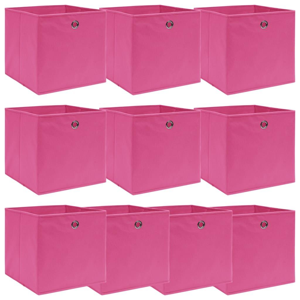 vidaXL Cutii depozitare, 10 buc., roz, 32x32x32 cm, textil poza 2021 vidaXL