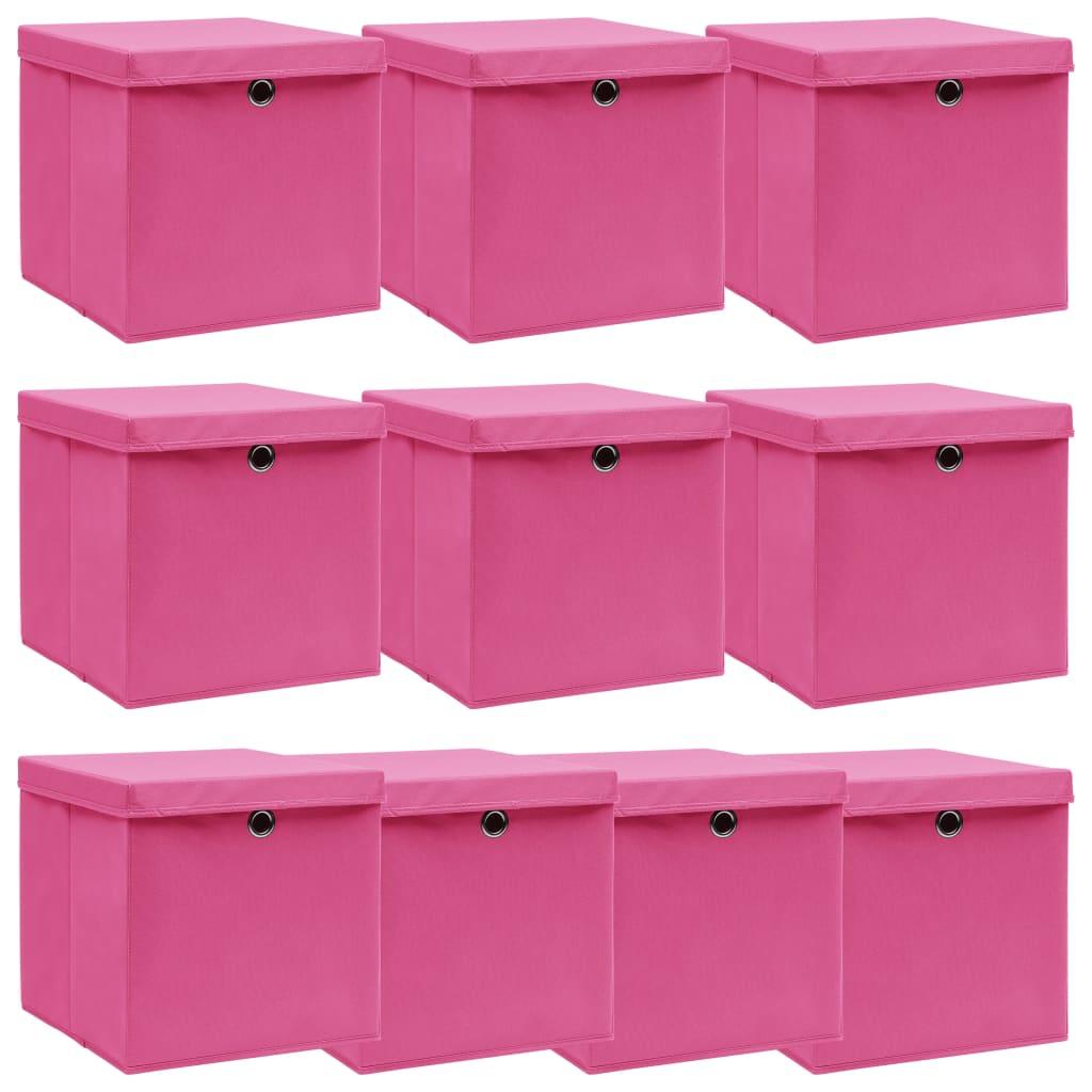 vidaXL Cutii depozitare cu capace, 10 buc., roz, 32x32x32 cm, textil vidaxl.ro