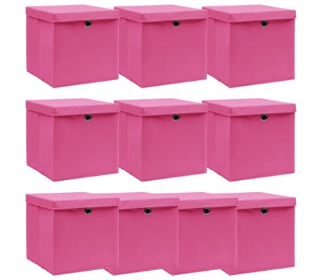 vidaXL Opbergboxen met deksel 10 st 32x32x32 cm stof roze