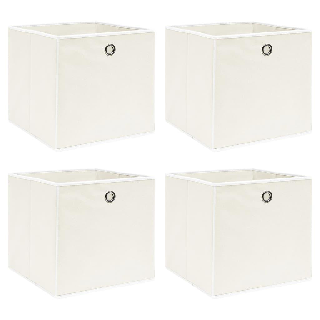 vidaXL Cutii depozitare, 4 buc., alb, 32x32x32 cm, textil vidaxl.ro