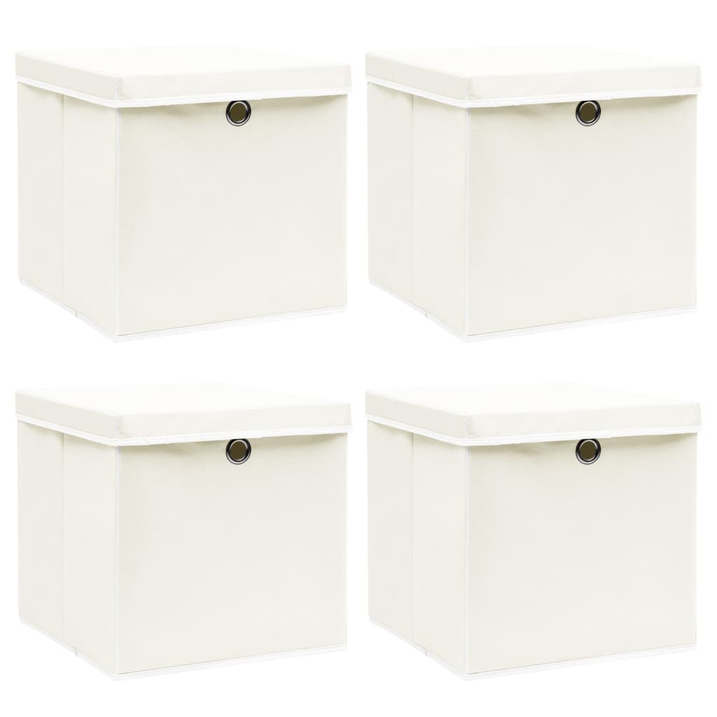 vidaXL Cutii depozitare cu capace, 4 buc., alb, 32x32x32 cm, textil vidaxl.ro