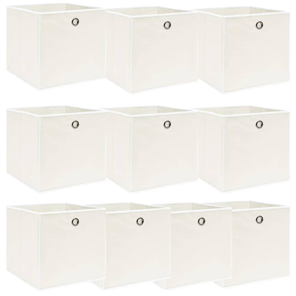 vidaXL Cutii depozitare, 10 buc., alb, 32x32x32 cm, textil vidaxl.ro