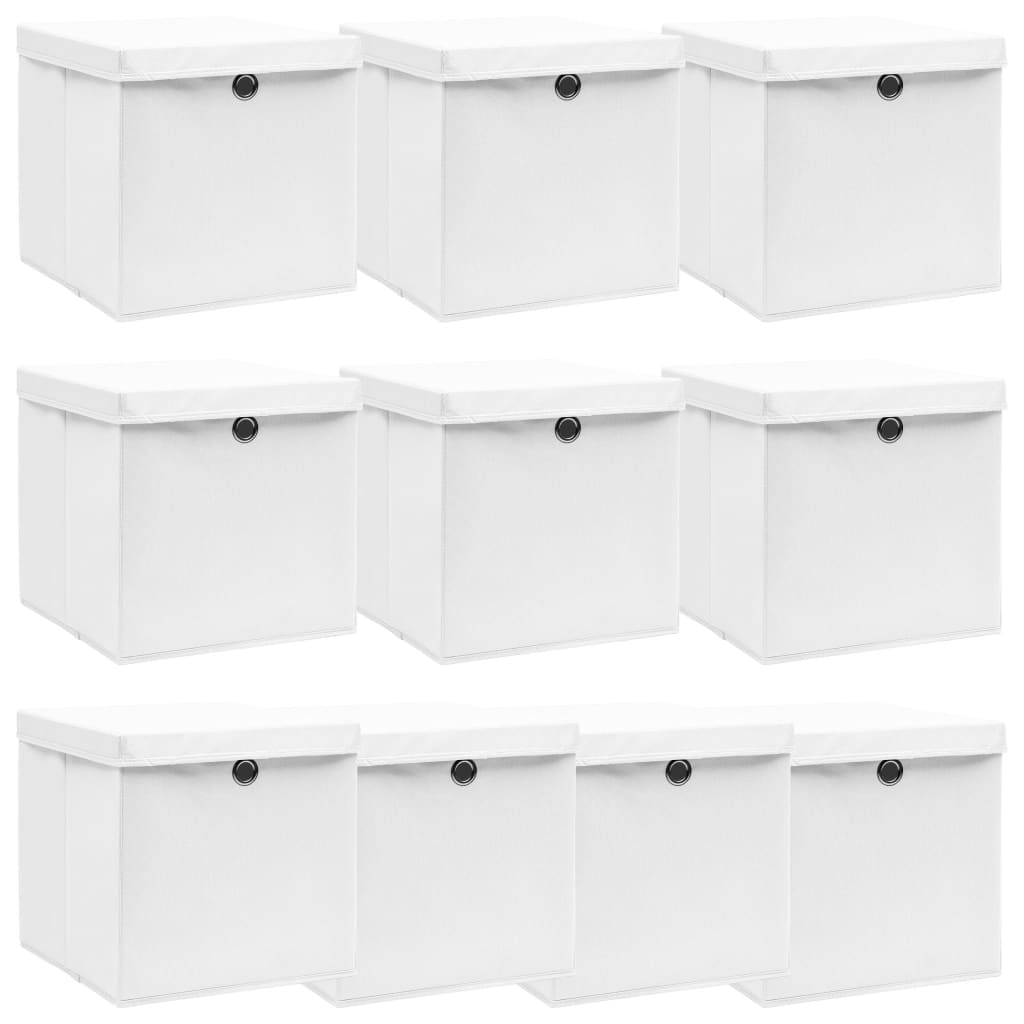vidaXL Cutii depozitare cu capace, 10 buc., alb, 32x32x32 cm, textil poza vidaxl.ro