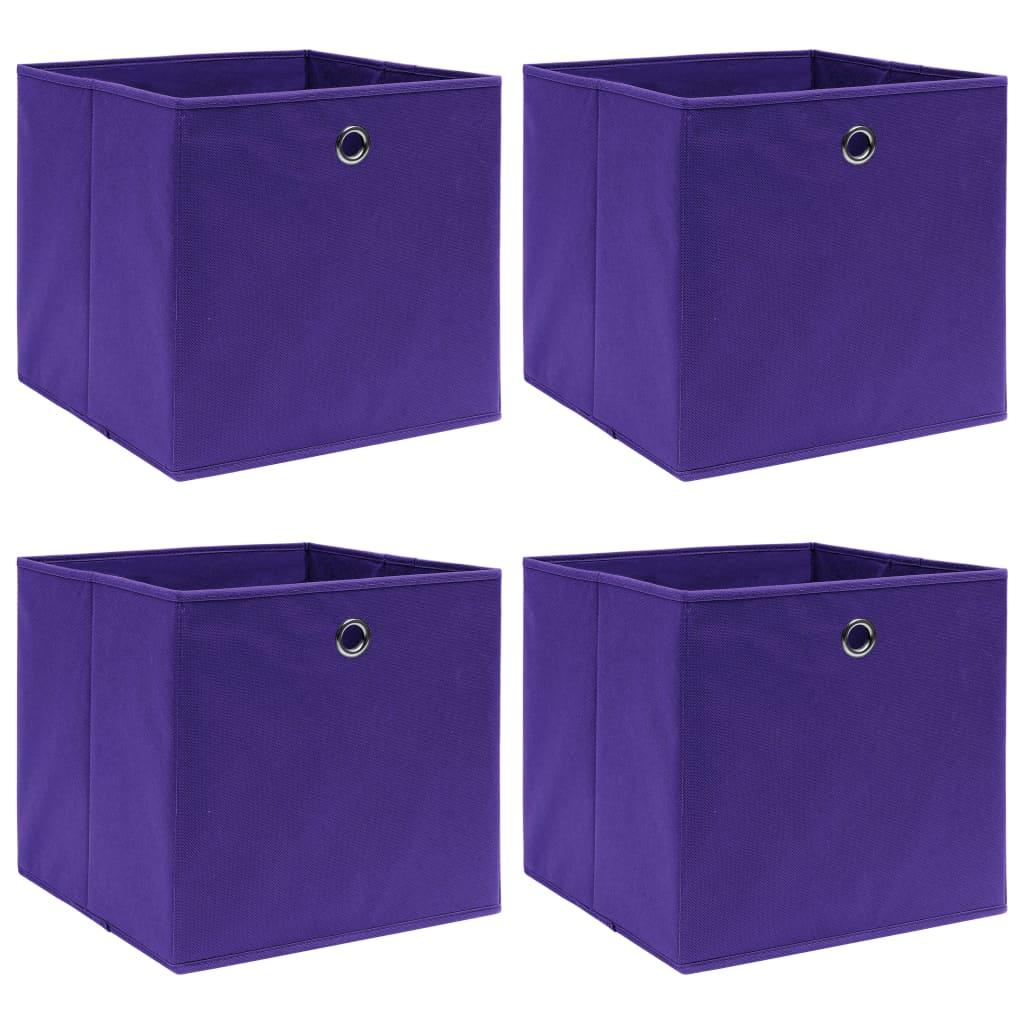 Úložné boxy 4 ks fialové 32 x 32 x 32 cm textil
