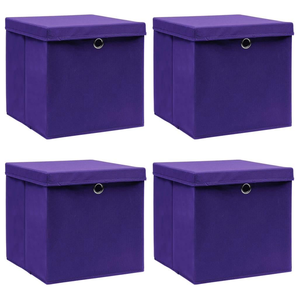 vidaXL Cutii depozitare cu capace, 4 buc., violet, 32x32x32 cm, textil poza 2021 vidaXL