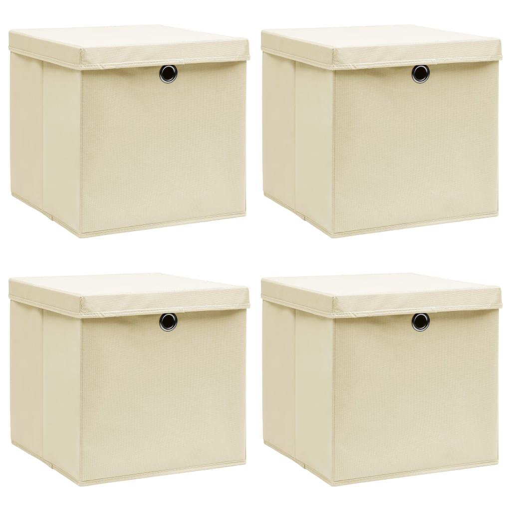 vidaXL Cutii depozitare cu capac, 4 buc., crem, 32x32x32 cm, textil vidaxl.ro