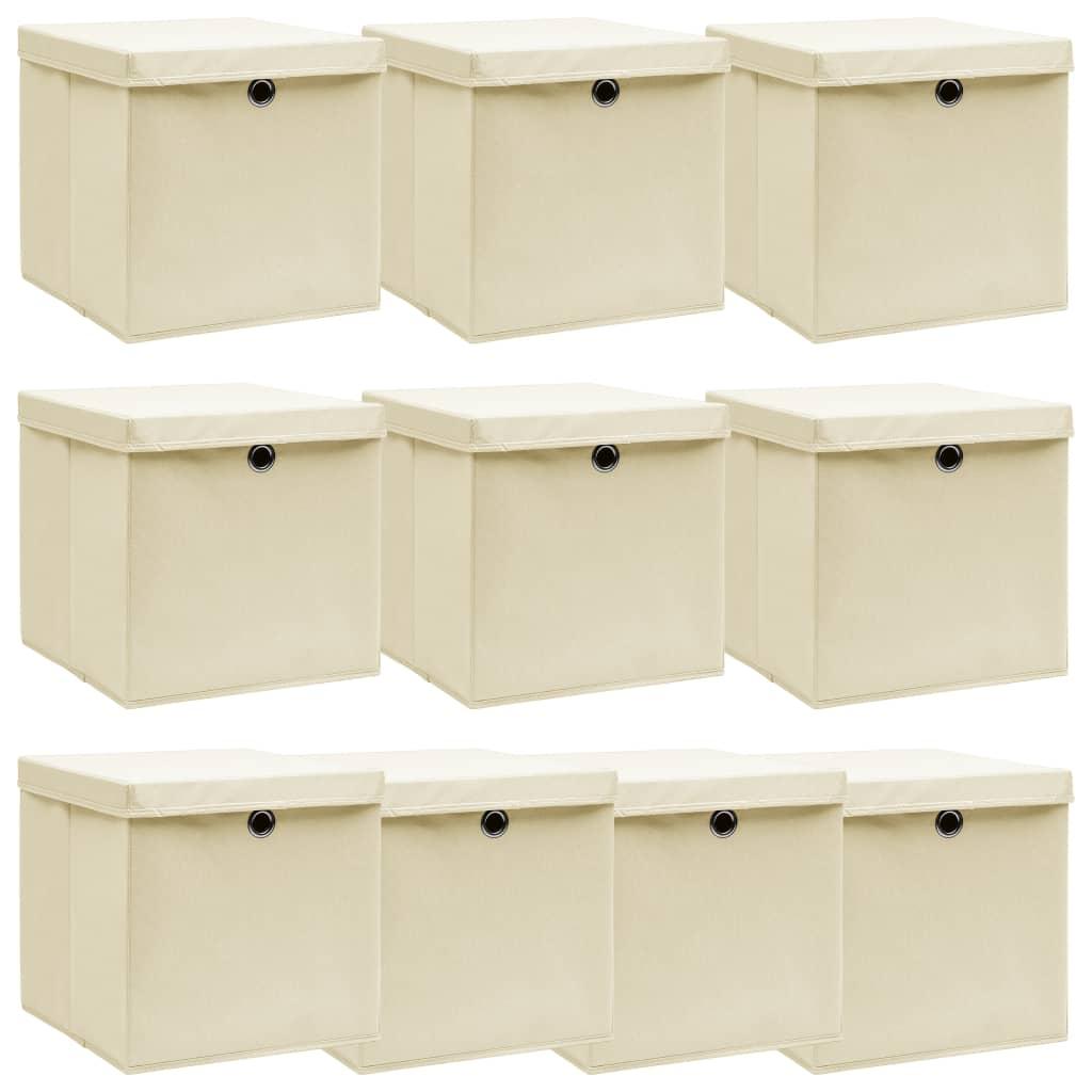 vidaXL Cutii depozitare cu capac, 10 buc., crem, 32x32x32 cm, textil vidaxl.ro