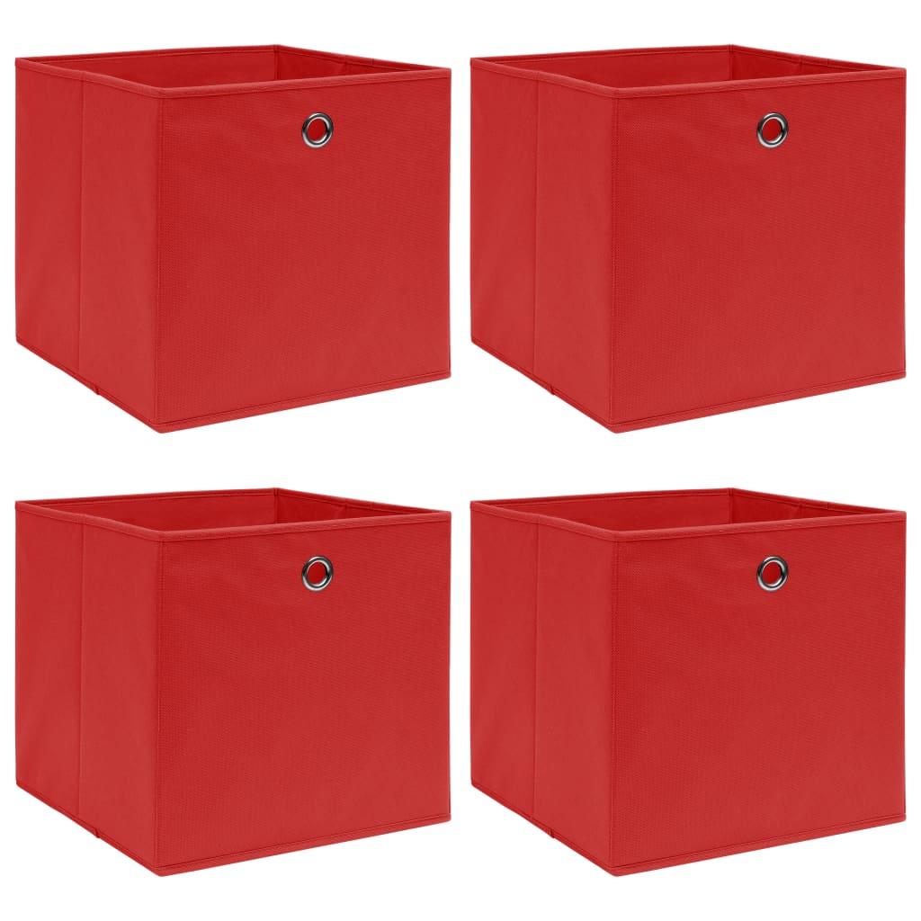 vidaXL Cutii depozitare, 4 buc, textil, 32x32x32 cm, roșu poza vidaxl.ro