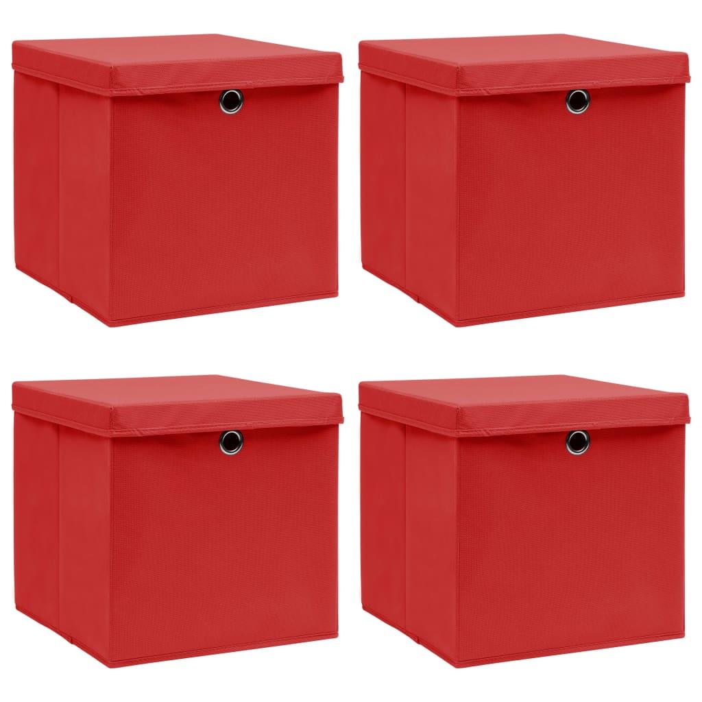 vidaXL Cutii depozitare cu capace, 4 buc., roșu, 32x32x32 cm, textil imagine vidaxl.ro
