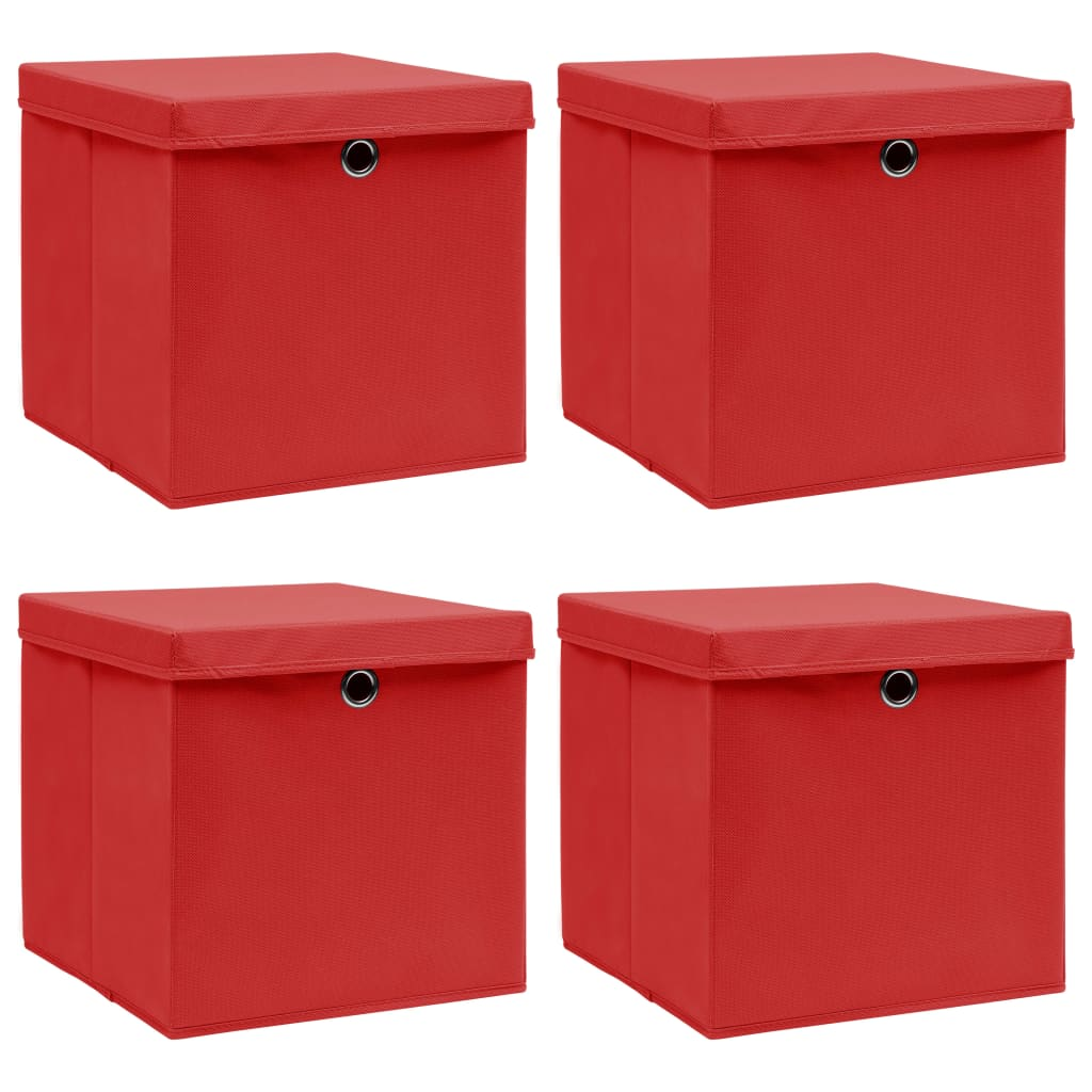 vidaXL Cutii depozitare cu capace, 4 buc., roșu, 32x32x32 cm, textil vidaxl.ro
