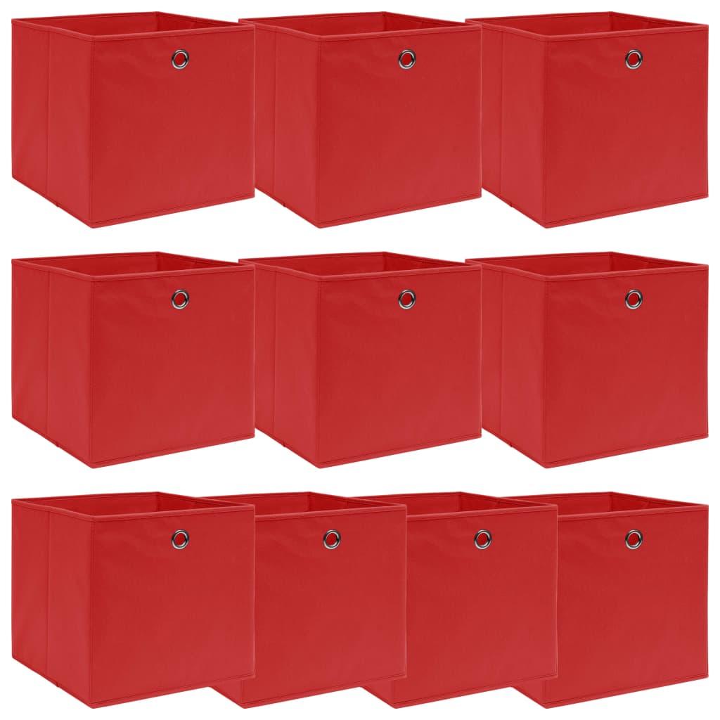 vidaXL Cutii depozitare, 10 buc., roșu, 32x32x32 cm, textil vidaxl.ro