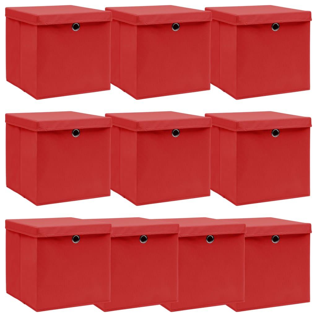 vidaXL Cutii depozitare cu capace, 10 buc., roșu, 32x32x32 cm, textil vidaxl.ro