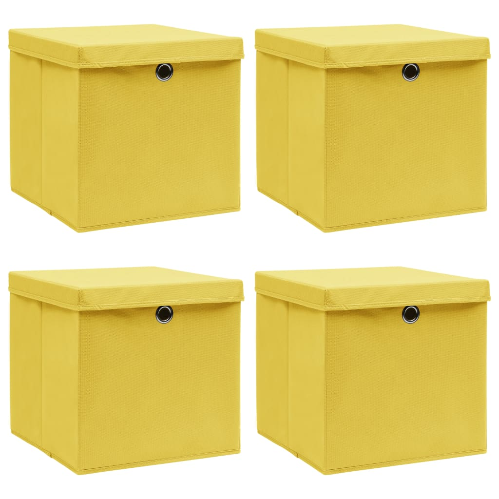 vidaXL Cutii depozitare cu capace, 4 buc., galben, 32x32x32 cm, textil vidaxl.ro