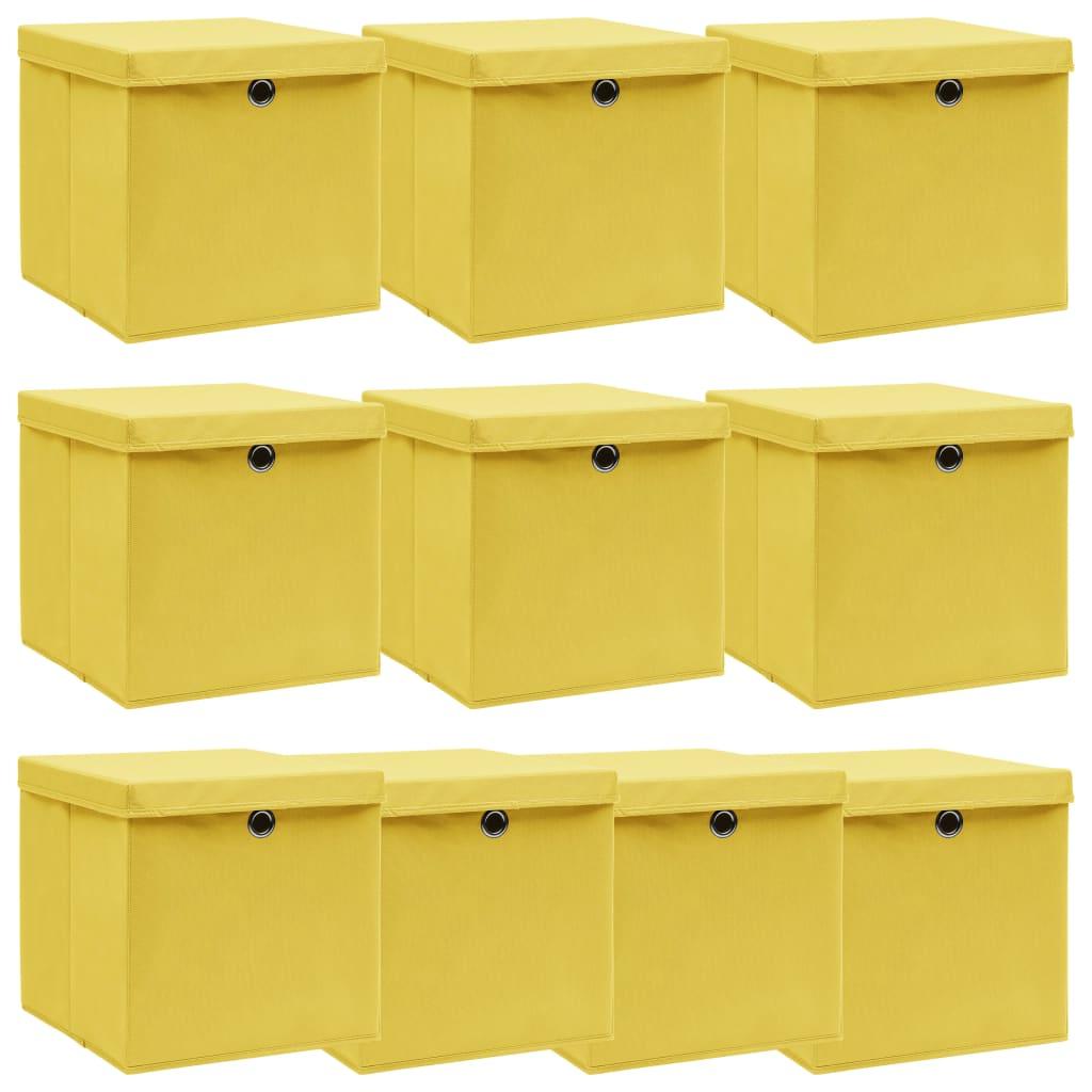 vidaXL Cutii depozitare cu capac, 10 buc., galben, 32x32x32 cm, textil vidaxl.ro