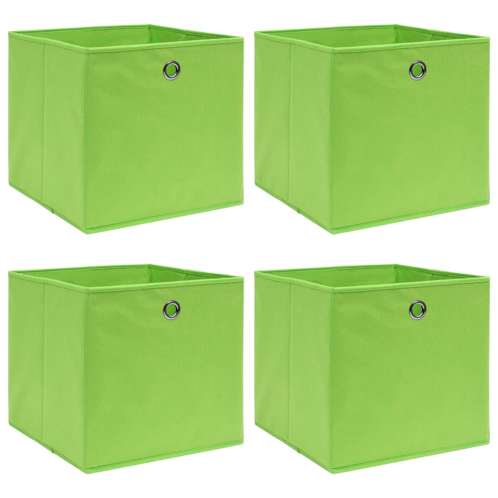 vidaXL Cutii depozitare, 4 buc., verde, 32x32x32 cm, textil vidaxl.ro