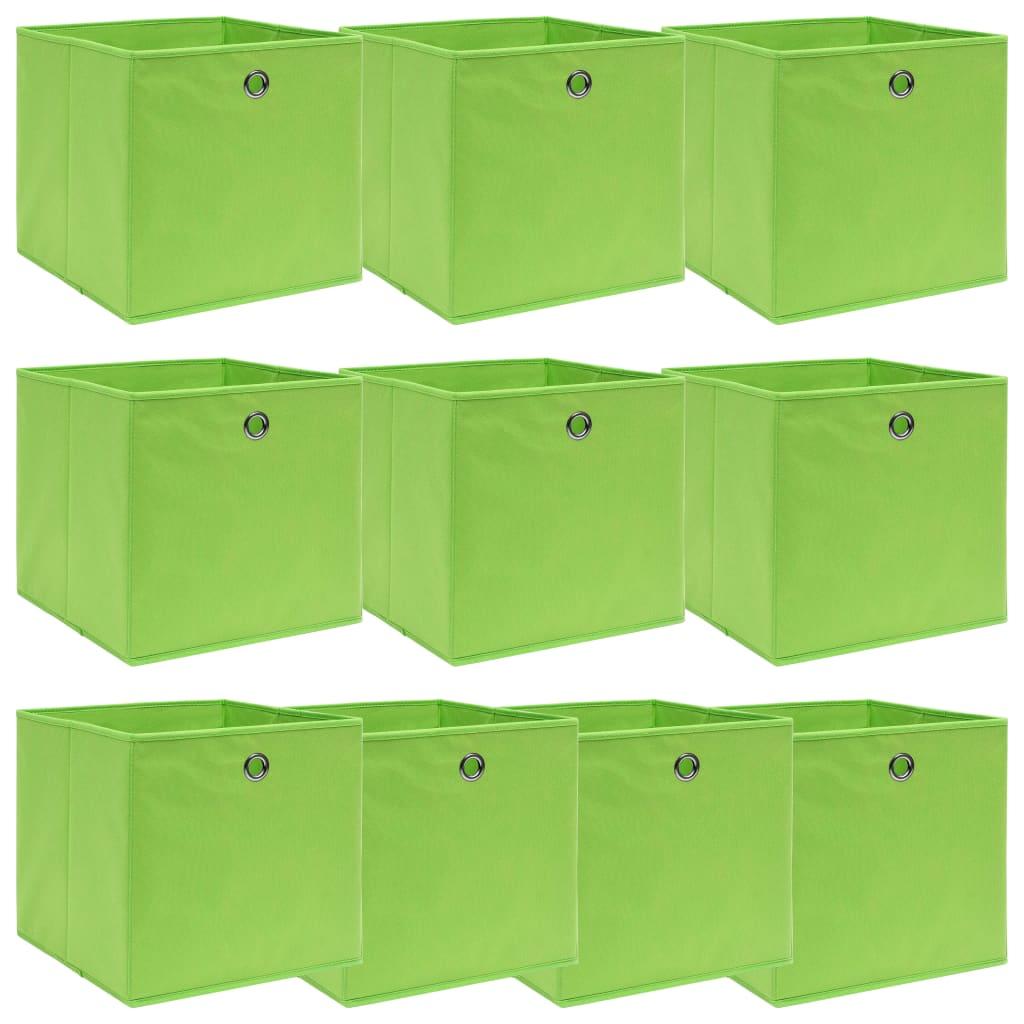 vidaXL Cutii depozitare, 10 buc., verde, 32x32x32 cm, textil vidaxl.ro