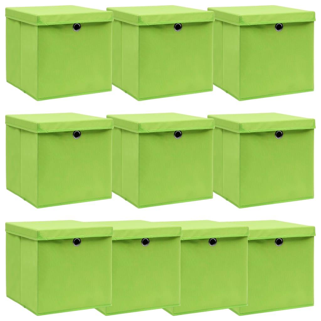 vidaXL Cutii depozitare cu capace, 10 buc., verde, 32x32x32 cm, textil vidaxl.ro