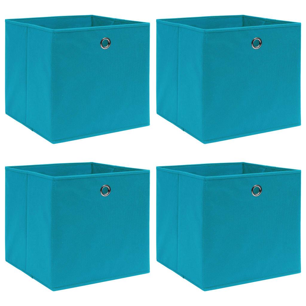 vidaXL Cutii depozitare, 4 buc., bleu, 32x32x32 cm, textil vidaxl.ro