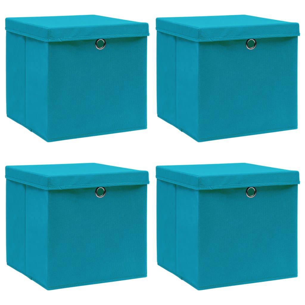 vidaXL Cutii depozitare cu capace, 4 buc., bleu, 32x32x32 cm, textil imagine vidaxl.ro