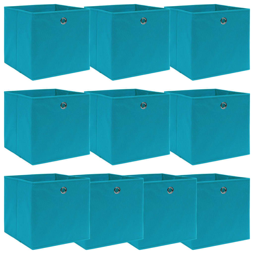 vidaXL Cutii depozitare, 10 buc., bleu, 32x32x32 cm, textil vidaxl.ro