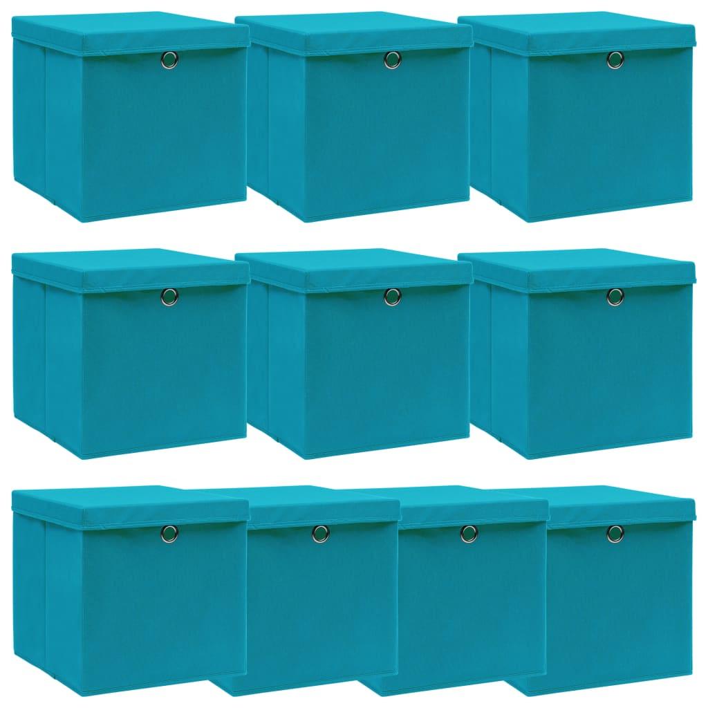 vidaXL Cutii depozitare cu capace, 10 buc., bleu, 32x32x32 cm, textil vidaxl.ro