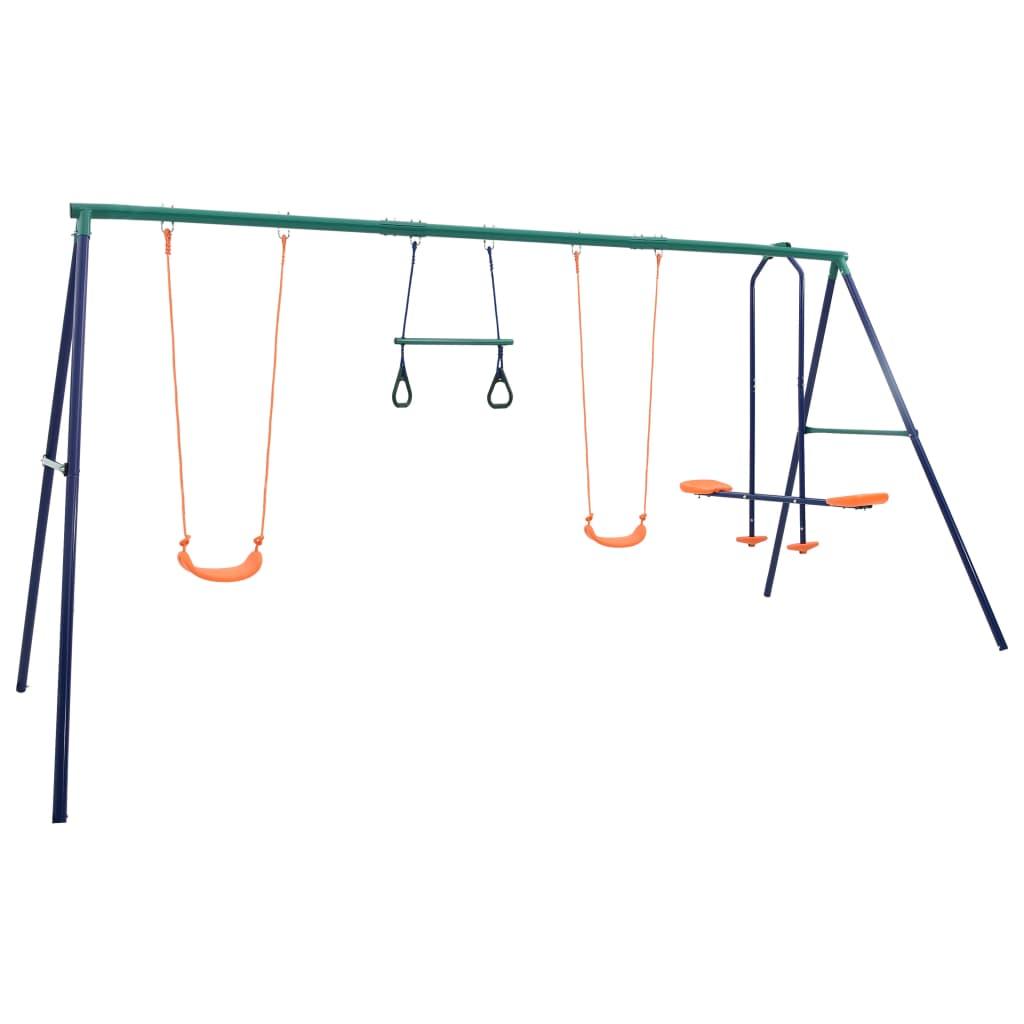vidaXL Set de leagăne cu inele de gimnastică și 4 locuri, oțel imagine vidaxl.ro