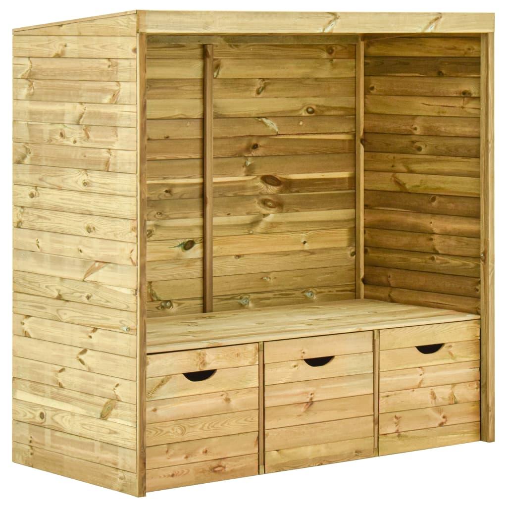 vidaXL Banchetă grădină cu umbrar, 3 sertare, 170cm, lemn masiv de pin imagine vidaxl.ro
