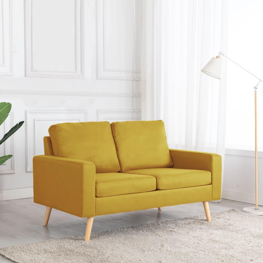 Canapé droit 2 places Jaune Tissu Pas cher Confort