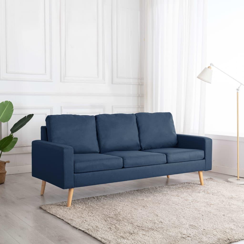 vidaXL Canapea cu 3 locuri, albastru, material textil imagine vidaxl.ro