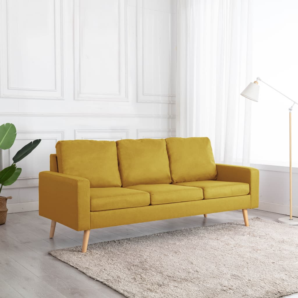 vidaXL Canapea cu 3 locuri, galben, material textil poza 2021 vidaXL