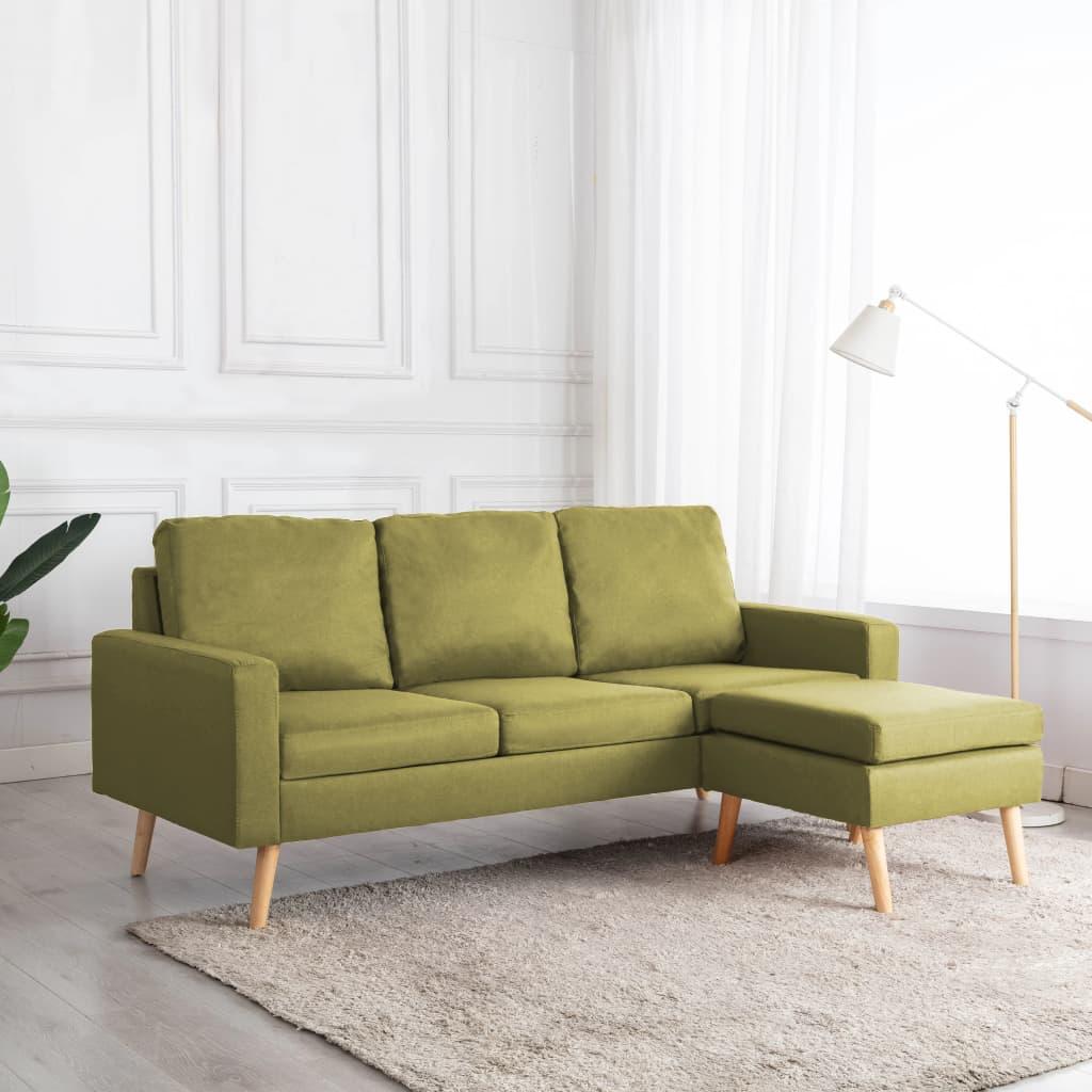 vidaXL 3-personers sofa med fodskammel stof grøn
