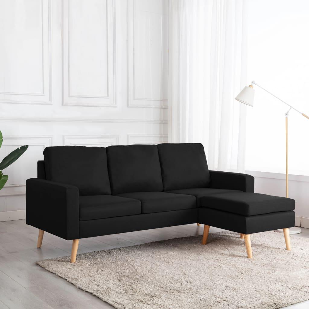 vidaXL Canapea cu 3 locuri și taburet, negru, material textil poza 2021 vidaXL
