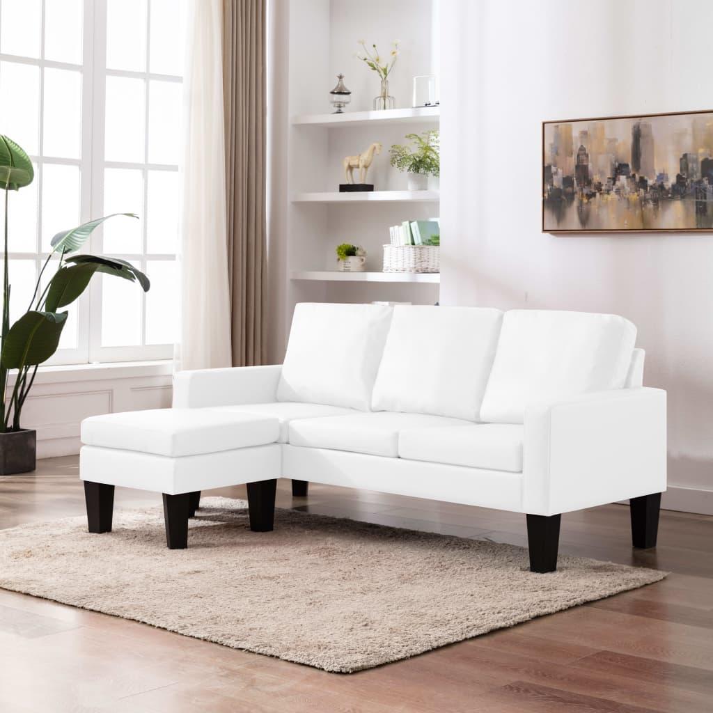vidaXL Canapea cu 3 locuri și taburet, alb, piele ecologică imagine vidaxl.ro