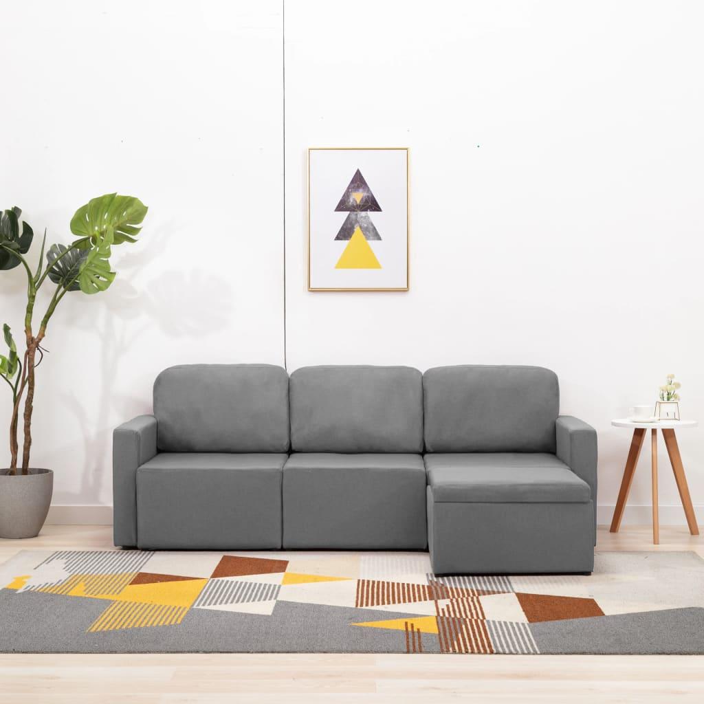Canapé modulable 3 places Gris Tissu Confort