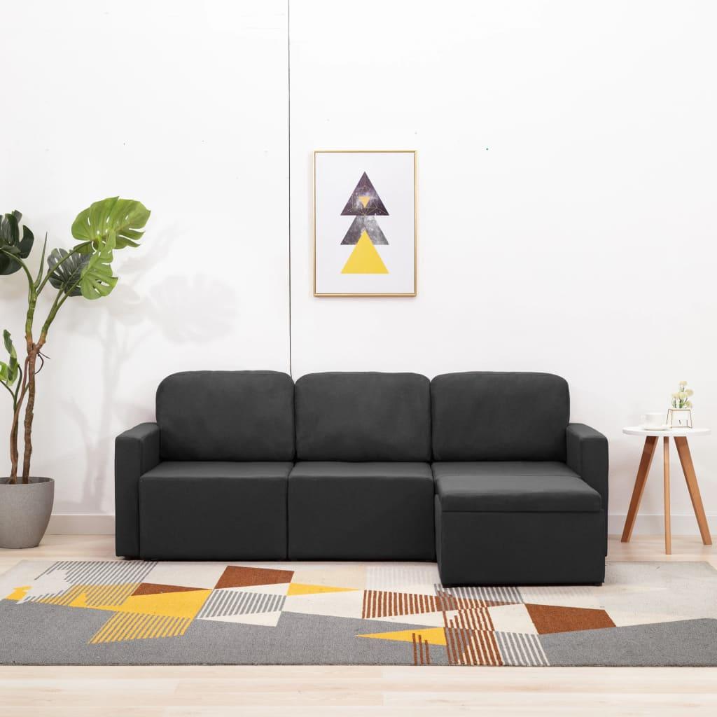 vidaXL Canapea extensibilă modulară cu 3 locuri, gri închis, textil poza 2021 vidaXL