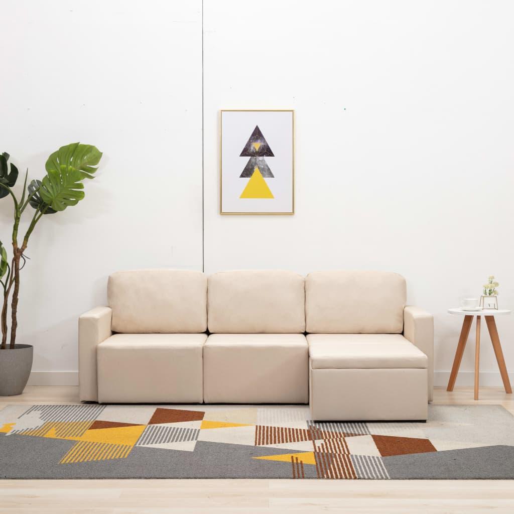 vidaXL Canapea extensibilă modulară cu 3 locuri, crem, material textil imagine vidaxl.ro