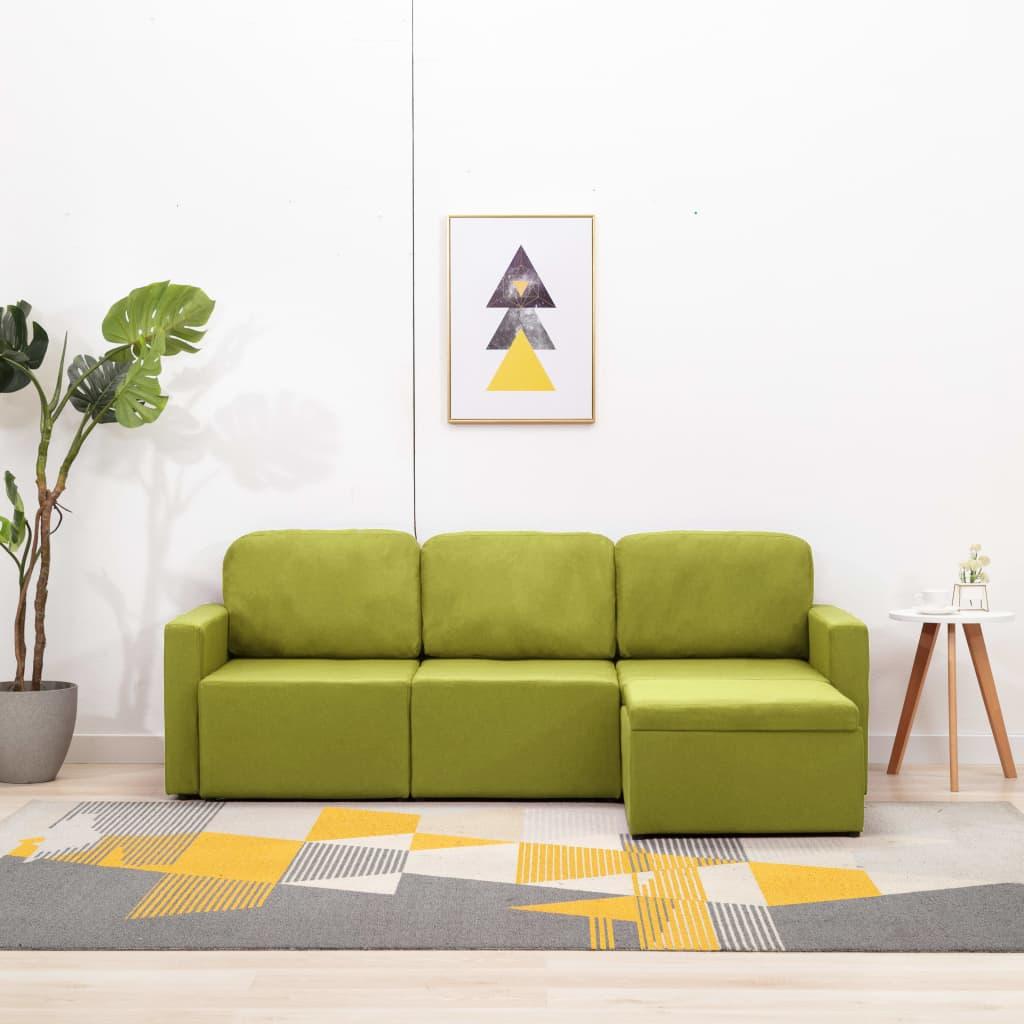 Canapé d'angle 3 places Tissu Confort Vert