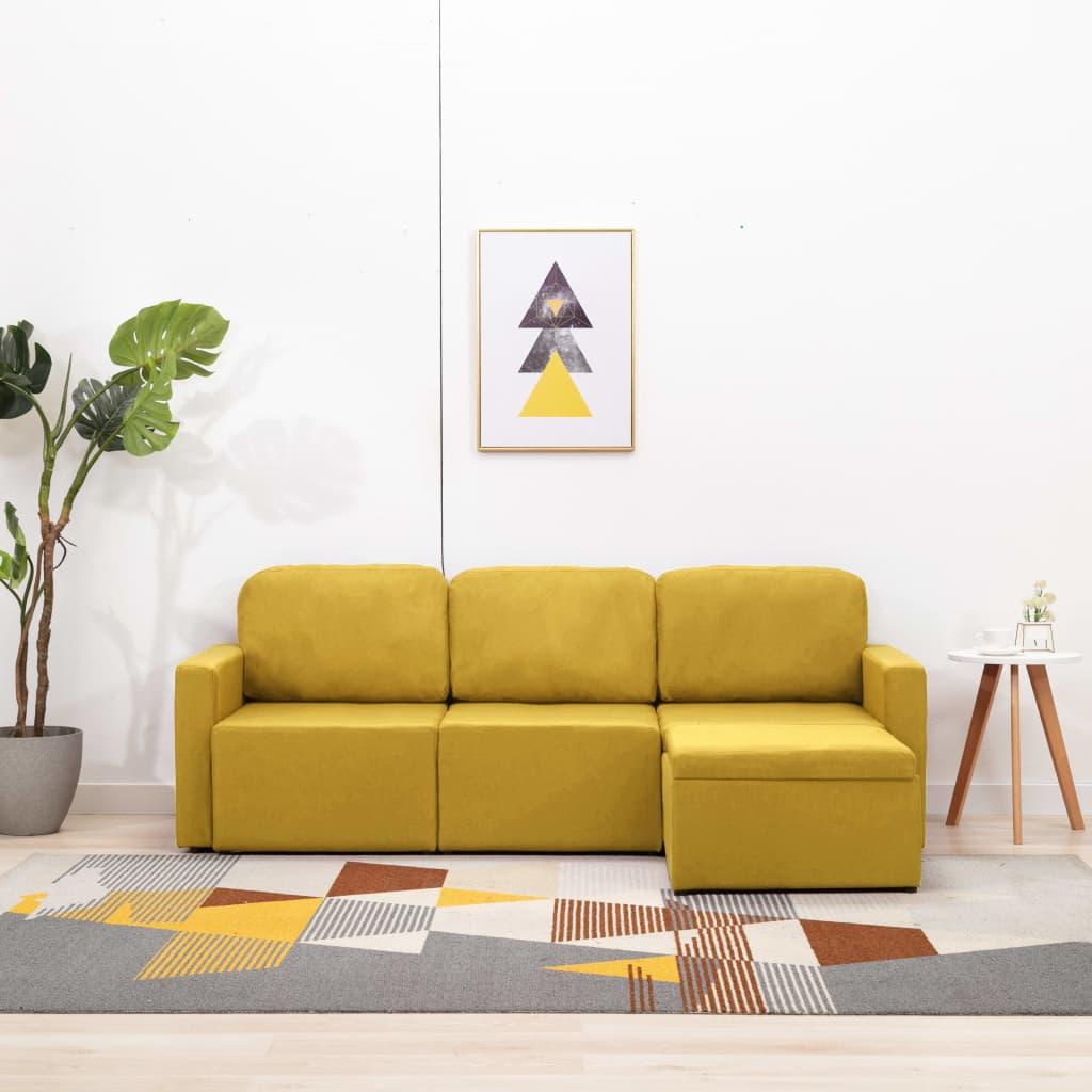 Canapé modulable 3 places Jaune Tissu Confort