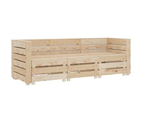 vidaXL Garden 3-Seater Pallet Sofa Wood