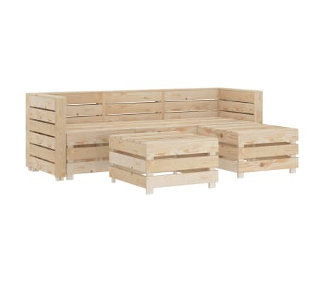 vidaXL 5 Piece Garden Lounge Set Pallets Wood